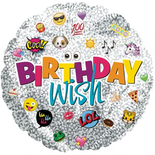 "9"" Airfill Only Birthday Wish Emoticons Foil Balloon"